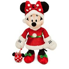 DISNEY PARKS AUTHENTIC SANTA MINNIE MOUSE HOLIDAY PLUSH WITH MOUSE ICON ORNAMENT