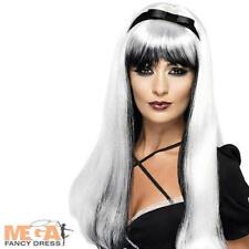 SILVER Strega Parrucca Donna Halloween Abito Da Donna Costume Adulto Accessorio Parrucca