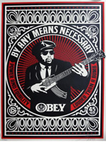 BY ANY MEANS NECESSARY RED - OBEY GIANT SHEPARD FAIREY PRINT - SIGNED / NUMBERED