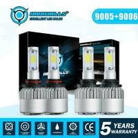 9006+9005 LED Headlight Bulbs 4000W 600000LM Hi-Lo Beam Combo Kit 6000K HID Lamp