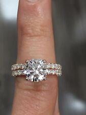 1.60ctw Natural Round Cut Pave Diamond Wedding Bridal Set - GIA Certified