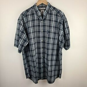 Columbia - Vintage Mens Short Sleeve Blue Check Cotton Casual Shirt - Size XL