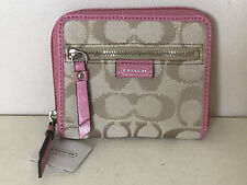NEW COACH DAISY OUTLINE SIGNATURE METALLIC MEDIUM ZIP CLUTCH WALLET KHAKI / PINK