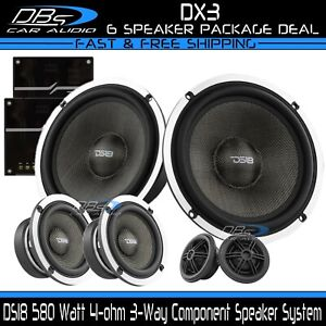 """DS18 DX3 3-Way Component Speaker System 580W 6.5"""" + 3.5"""" + Tweeters + Crossovers"""