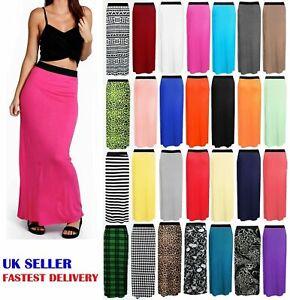 Womens Ladies Plain Long Straight Gypsy Stretch Maxi Jersey Skirt Full Length