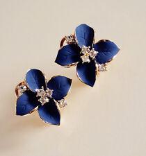 Boucles d'Oreilles CLIP ON Lucky Fleur Camélia Trèfle Bleu Marine Vintage J11
