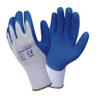 "Industrial Gloves Cordova Cor-Grip Blue Latex Palm Coated Size Large ""12 Pairs """