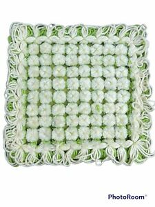 "Unused Vintage Handmade Crochet Avocado Green & White 12"" Pom Pom Pillow"