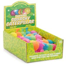 FLASHING CATERPILLAR - 21728 SQUASHY STRETCHY LIGHT UP FUN COLOURFUL CHILDRENS