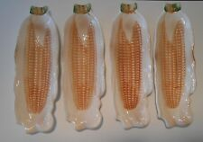 VINTAGE LOT OF 4 CORN ON THE COB GLAZED PORCELAIN WHITE HOLDER RARE HARD TO FIND