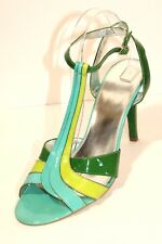 Enzo Angiolini Green Patent Leather Open Toe Stiletto Ankle Strap Heel 10.5 US