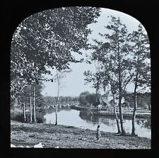 c1890s Magic Lantern Slide Photo View On The River Thames Iffley