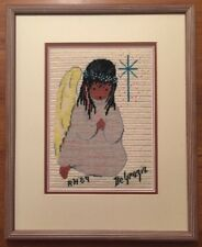 Finished Needlepoint LITTLE PRAYER Wool Ted DeGrazia FRAMED