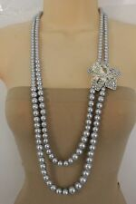 New Women Light Blue Pearl Beads 2 Strands Long Fashion Necklace Flower Charm