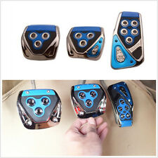 3x Car Manual Gear Brake Gas Clutch Non-Slip Foot Pedal Pad Covers Chrome Blue
