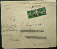 LEBANON FRENCH PO's 1920 POSTAL COVER FROM BEYROUTH TO USA - SEE!