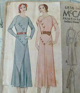 Vintage 1922 McCall Sewing Pattern 6838Ladies Dress Button Yoke Details Size 16