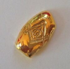 5g GOLD .9999 FreeMason hand poured gold bar 99.99% five gram. Solid gold round