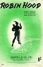 "SHEET MUSIC - ""ROBIN HOOD"" - LOUIS PRIMA & BOB MIKETTA (1944)"
