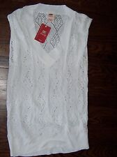 NWT ladies' large 12 / 14 L LG FADED GLORY white lightweight sleeveless sweater
