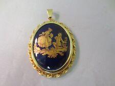 Reine Porcelain Gold Washed Pendant Lovely Vintage Limoges France Designer La