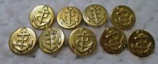 "9 Gold-Tone 2 part Metal Top and Bottom Anchor Shank Buttons 7/8"" VERY GOOD"