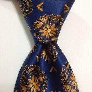 LANVIN Paris Men's 100% Silk Necktie FRANCE Designer FLORAL Blue/Gold/Black EUC