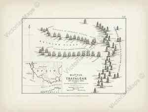 Battle of Trafalgar plan 1 A K Johnston map Alison's Atlas 1850 art print poster