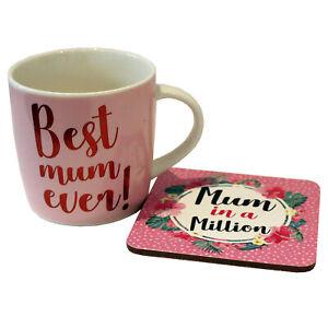 Best Mum Ever Ceramic Mug and Coaster Gift Set Mother's Day