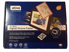 "Ativa 11"" Digital Photo Frame, 256MB Memory, Black & Espresso Wood NO REMOTE"