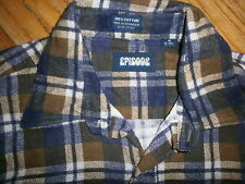vtg 70s 80s Flannel Shirt by Episode Brown Purple Plaid Grunge Lumberjack Med