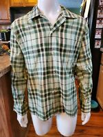 Vtg Sears Perma-Prest Shirt Mens size Large Tall  Plaid Green/Whites RARE