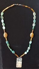 Striking abalone pendant with necklace of blue quartz & tiger's eye beads