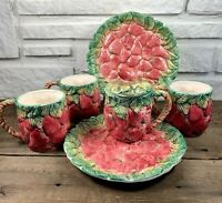 Mid Century Vintage Takahashi Handpainted Strawberry Majolica Set Made in Japan