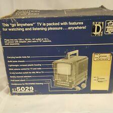 "Vintage Retro Sears SR3000 Mini 5"" B & W  TV Television Set w Radio 58050290450"