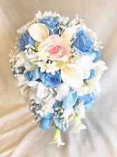 LIGHT BLUE & PINK Cascade Bridal Bouquet & Boutonnierre ~ Silk Wedding Flowers