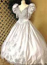 SILVERY SATIN BRIDAL GOWN WEDDING RENAISSANCE FAIRE DRESS COSTUME PEARLS SEQUINS