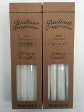 16PK White Unscented Dinner Candle Tapered 25cm Plain White Taper Candles Bulk