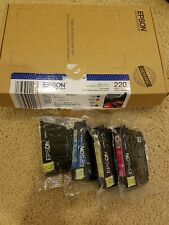 Epson Genuine 220 Black Cyan Magenta Yellow Ink 4-PK Combo Free ship