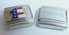 NUMBER 1 USA FLAG 9mm Italian Charm & 1 x Genuine Nomination Classic Link #1 ONE