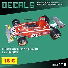 DECALS repro Ferrari 312 B3 #12 Niki Lauda F1 Polistil 1/16 1 16 Formula decal