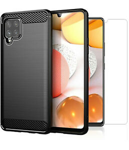 For Samsung Galaxy A42 5G Case Carbon Fibre Cover & Glass Screen Protector