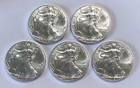 Lot of 5 BU 1 oz Silver 2019 American Eagles, 1 oz Coins, .999 Fine Silver