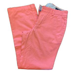 Vineyard Vines Mens Pink Slim Fit Breaker Pant Flat Front Size 28 x 30