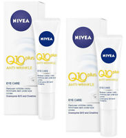 2 x Nivea VISAGE Anti-wrinkle double Q10 Plus EYE Cream 15ml.