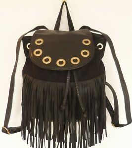 RIVER ISLAND Black Gold Faux Leather Tassel Shoulder Backpack HANDBAG