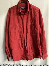 Vintage Ruff Hewn True American Wear Corduroy Button Shirt Red Size Large Retro