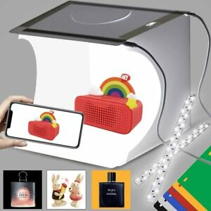 Double LED Light Room Photo Studio Photography Lighting Tent Kit 6 Backdrop Box