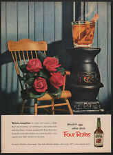 1952 FOUR ROSES Whiskey - Rocking Chair - Pot-Bellied Wood Stove -  VINTAGE AD