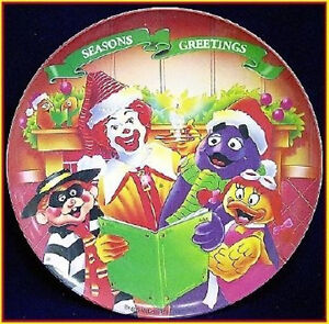 """McDonald's 1995 CHRISTMAS Collectible 9.5"""" PLATE Fast Food Toy Xmas Theme"""